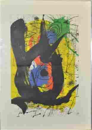 "MIRO, Joan (1893-1983) original color lithograph ""Un"