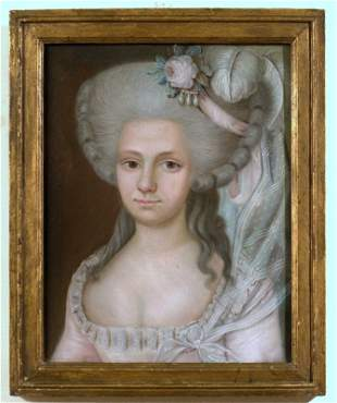 Courtly ladies portrait, pastel, finely framed in th