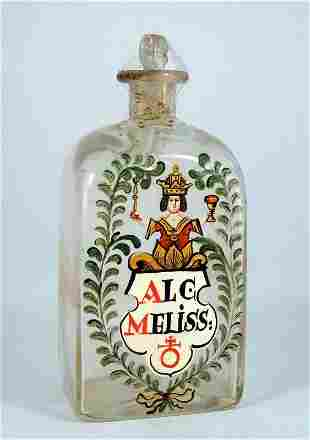 Apothecary bottle, clear glass and stopper, the visi