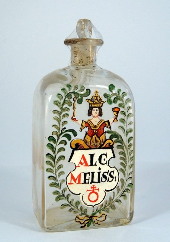 4: Apothecary bottle, clear glass and stopper, the visi