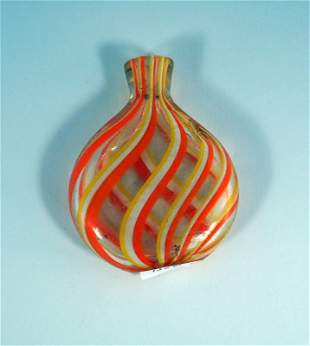 Snuff bottle, clear glass with orange-yellow and whi