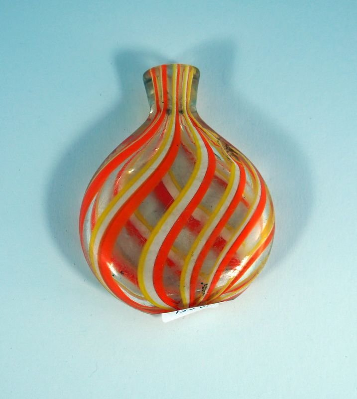 5: Snuff bottle, clear glass with orange-yellow and whi