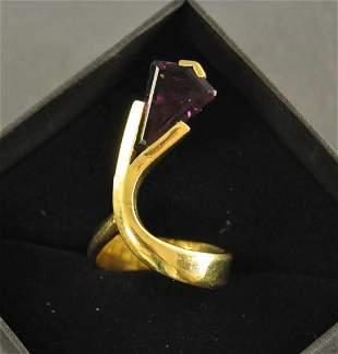Designer ring-70s, 750 yellow gold (18K GG), expansi