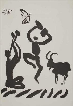 """PICASSO, P., lithography, """"Shepherd with flute"""", 19"""