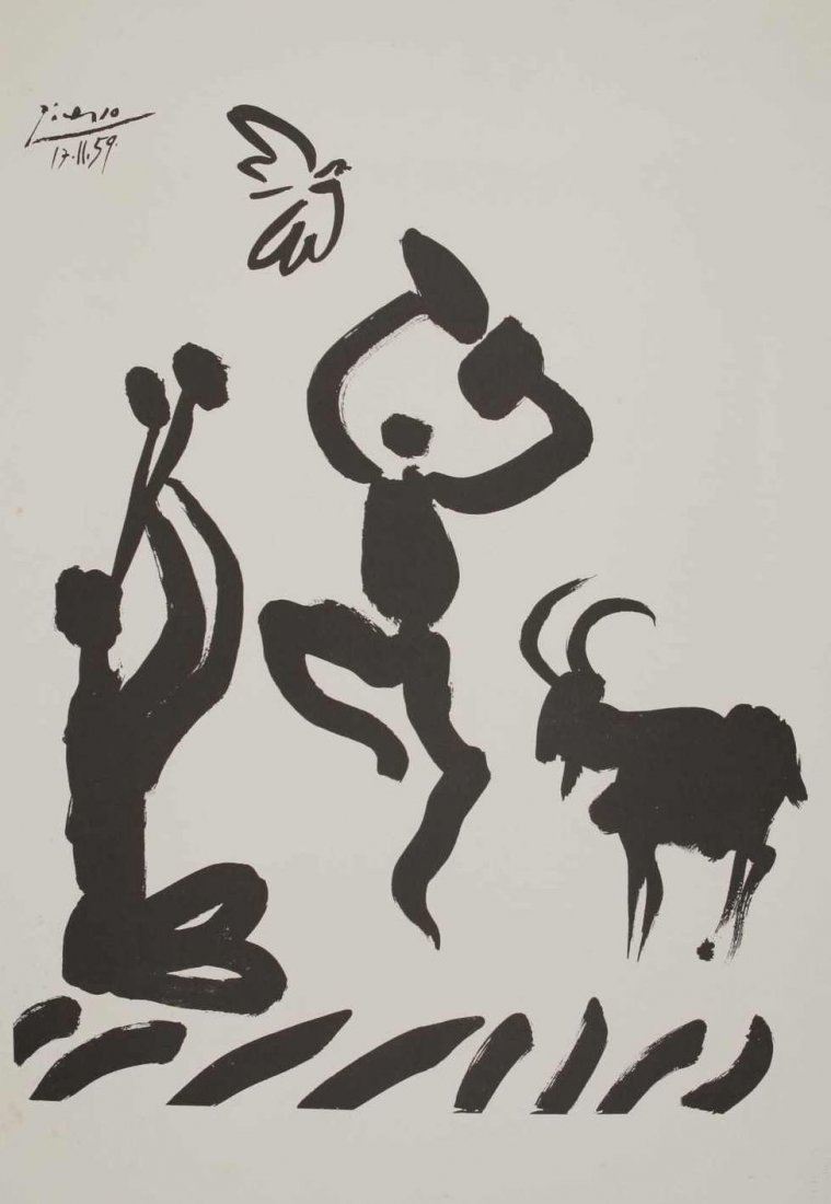 """12: PICASSO, P., lithography, """"Shepherd with flute"""", 19"""