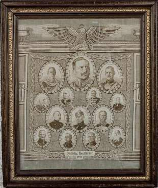 German military leaders, fabric framed picture, cir