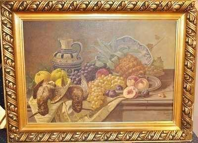 """21: SEIDEL, """"Still Life with Pheasants and exotic fruit"""