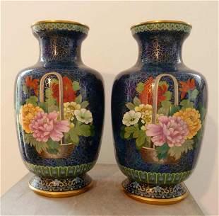 Pair of fine cloisonné vases, cobalt blue ground, c