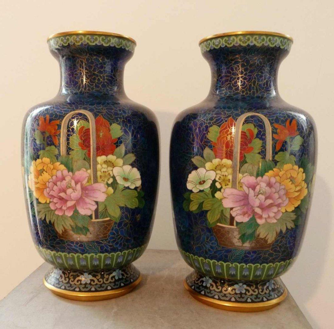 22: Pair of fine cloisonné vases, cobalt blue ground, c