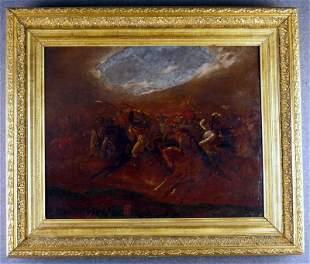 Fine representation of a battle scene, oil / cardbo