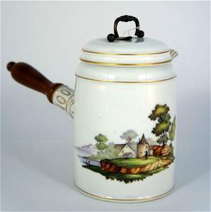 666: Ludwigsburg porcelain cocoa pot with lid and woode