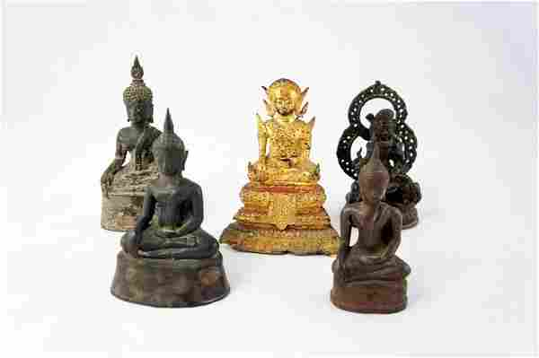 1034: Five bronze statues of Buddha, Tibet, 19-20. Cent