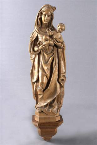Hand carved Madonna with Infant Jesus, linden wood,