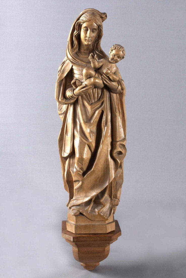 9: Hand carved Madonna with Infant Jesus, linden wood,
