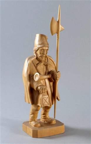 Night watchman, wood sculpture, latter day, hand ca