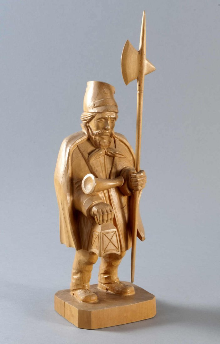12: Night watchman, wood sculpture, latter day, hand ca