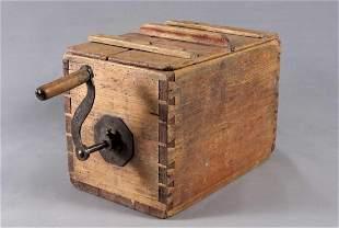 Churn, horizontal, rectangular wooden box, function