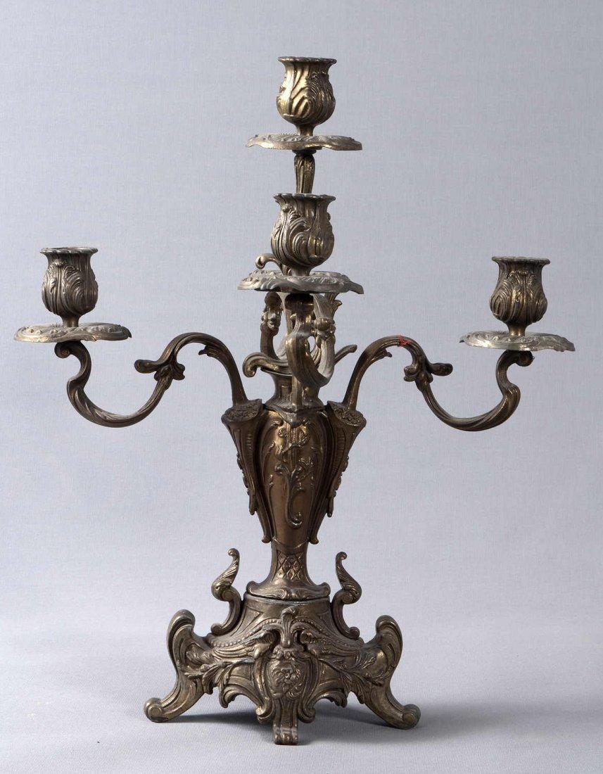 16: Brass candlesticks, supplemented with Rocaillenzier