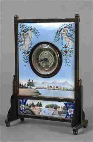 Rectangular Emailuhr (alarm) with round dial apertu
