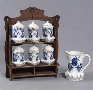 Gewürzset, porcelain glaze painting, delft style, m