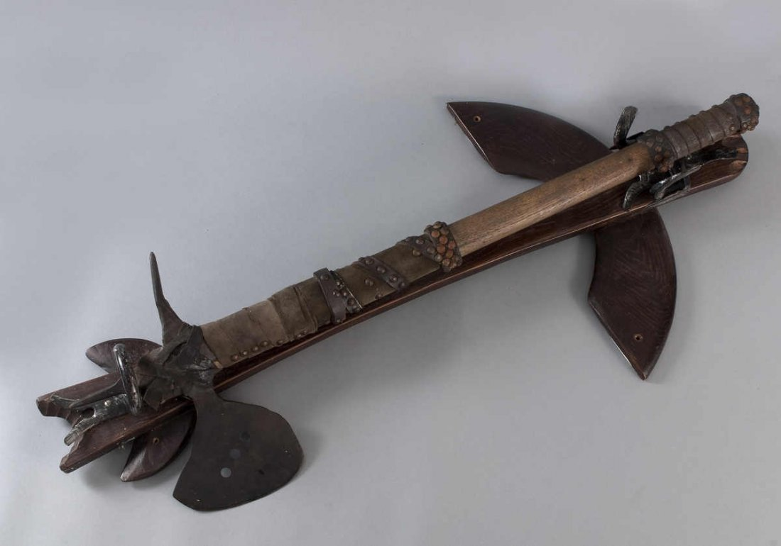 23: Medieval battle ax after submission, wrought iron h
