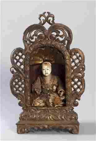 Curiosities, Japanese monk sitting in rococo shrine