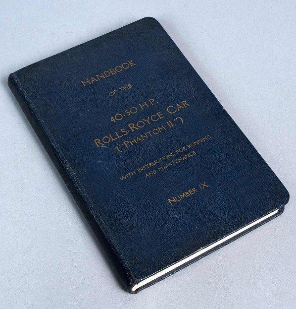 """4: """"Handbuch der 40-50 H.P. Rolls-Royce Car"""" (""""Phantom"""