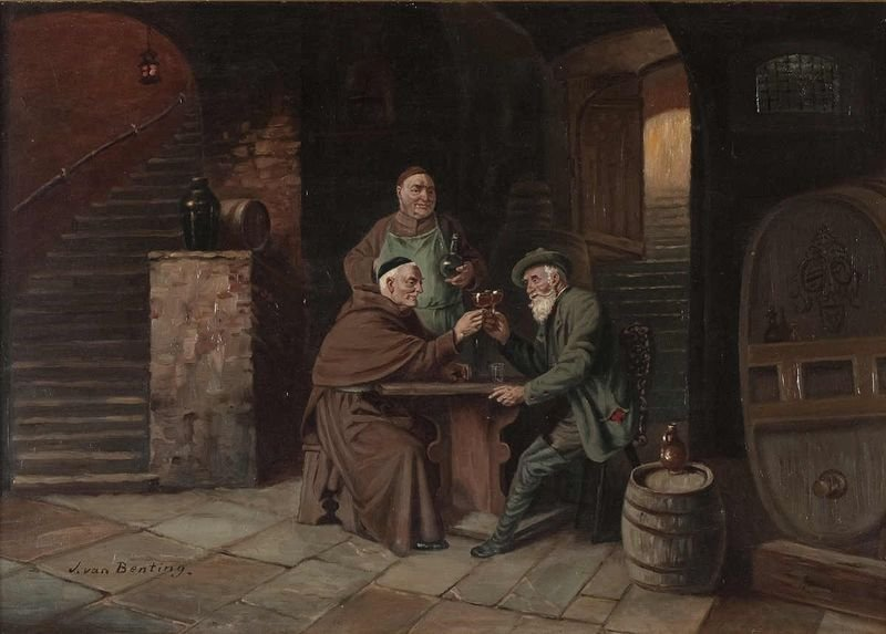"1: Benting van, J., ""The wine cellar"" oil / canvas boar"
