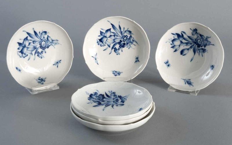 3: 6 saucers, Meissen, blue flower, cobalt blue undergl