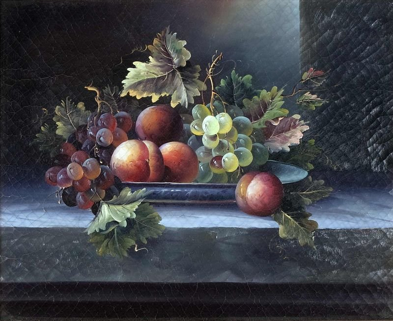 7: Still life with fruit on tray arranged, oil on canva