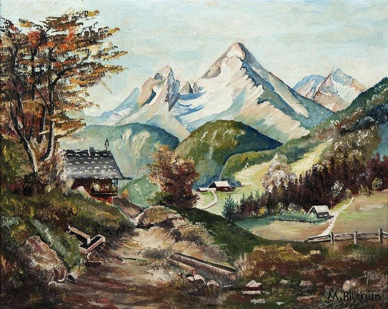 "9: Hillekum, M., ""homestead in Mountain Landscape"", oil"