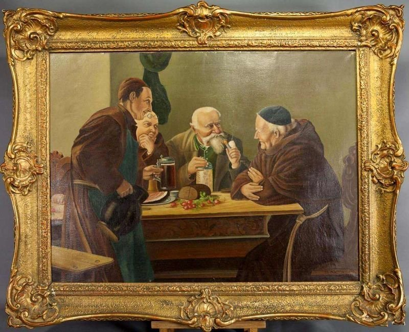 """16: Painting, """"tavern talk with monks"""", oil on canvas,"""