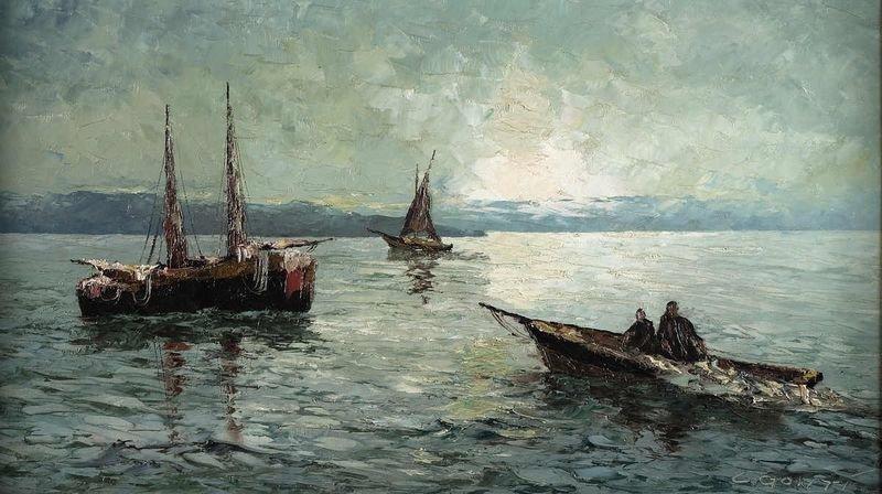 20: CONT, L.,'' Mediterranean Sea view with boats'', oi