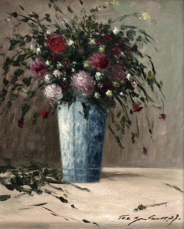 22: Modern Floral Still Life in soft blue vase, oil on