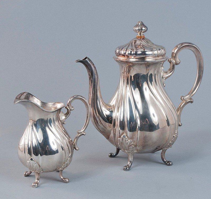 2: Coffeepot, Milkjug, 800'-silver shape in classic Eng