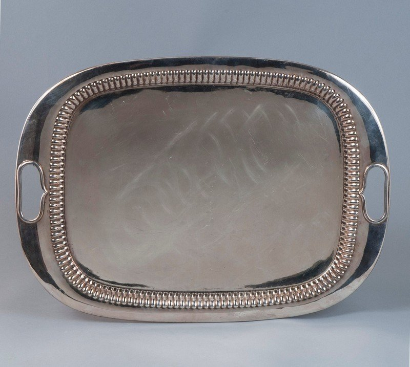 7: Large tray, silver plated with 2 heart-shaped handle