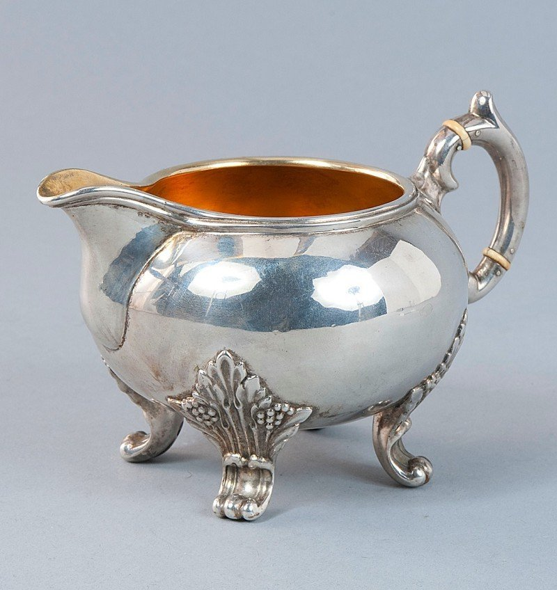 9: Creamer, 800'-silver, marked indistinctly, bulbous s