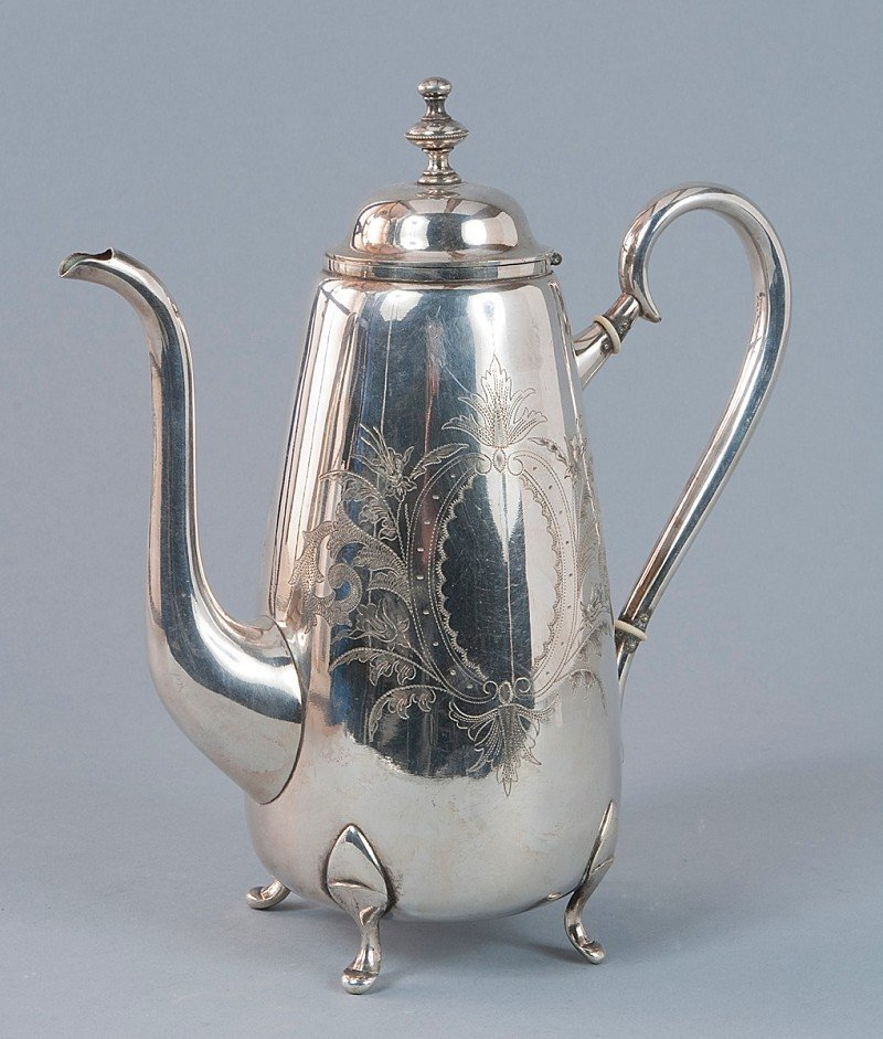 19: Coffee pot, silver plated, handles with two isolati