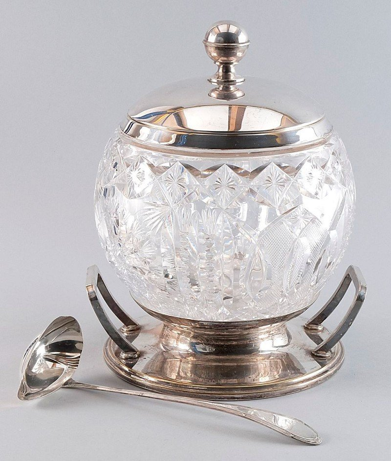 3: Bowle vessel, with matching silver spoon, round glas