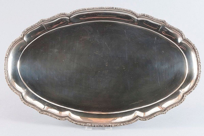 7: Tray, silver plated, with oval troughed, edge of tra