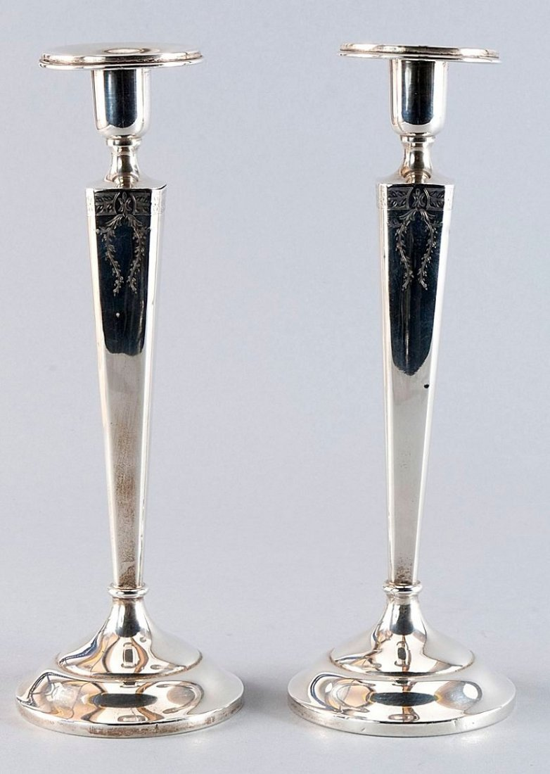 17: Pair of silver candlesticks, sterling silver 925'-s