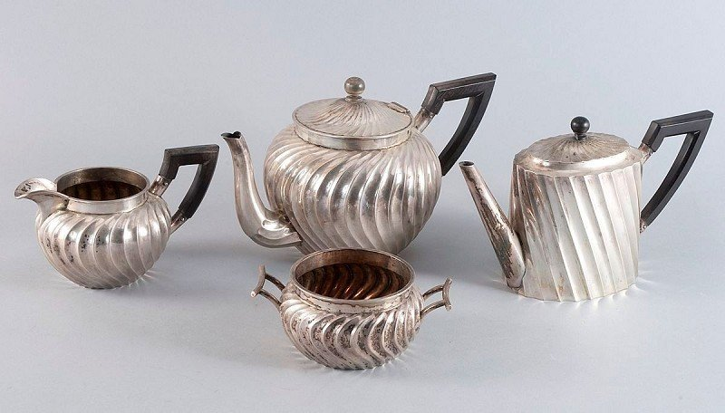 18: Art Deco coffee and tea 800'-silver, 4-piece, consi