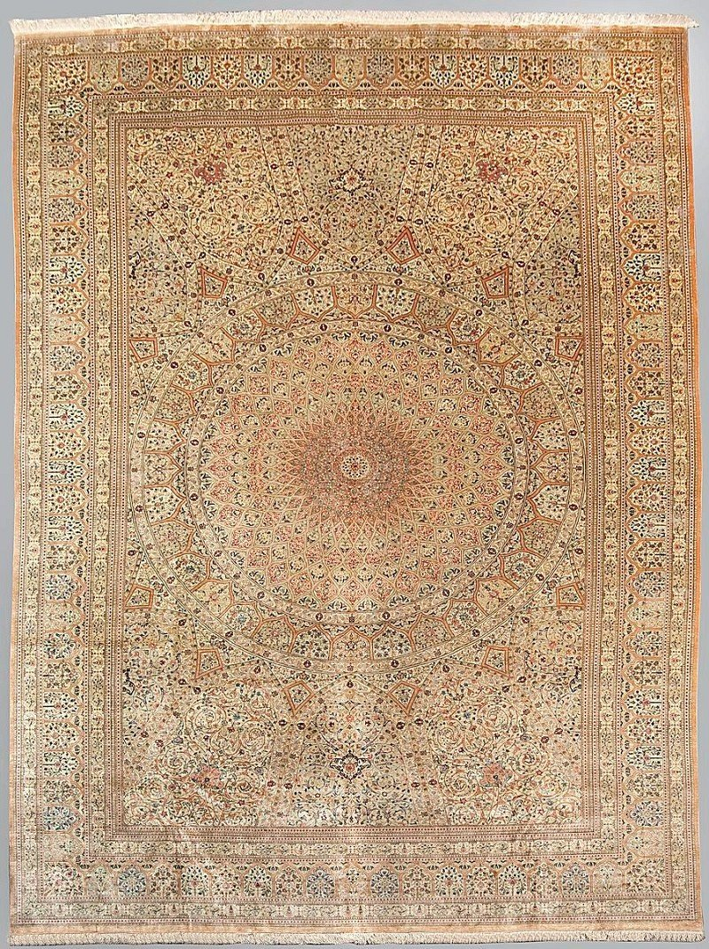 272: Very  rare Ghom silk, fine weave in silk on silk (