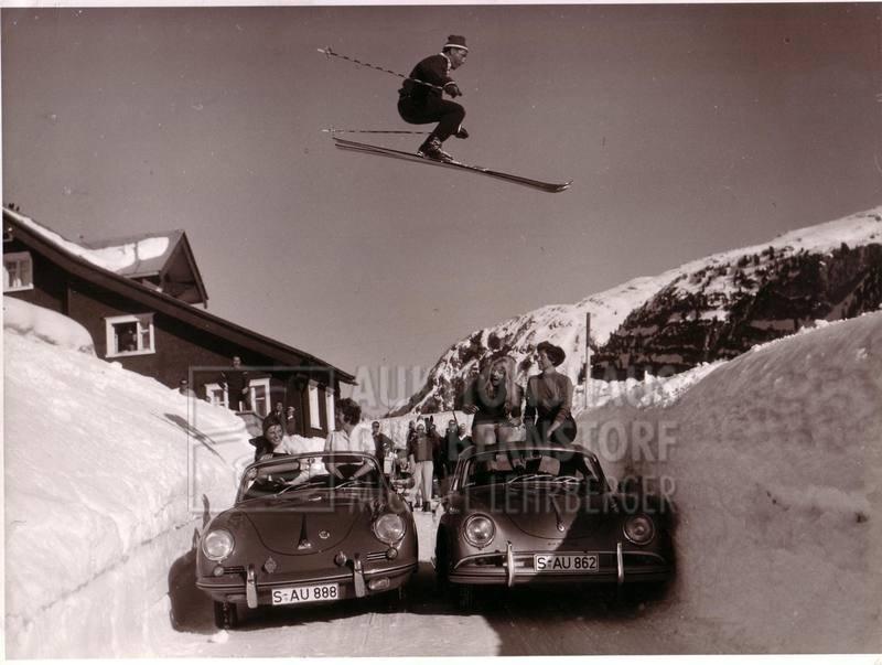 Porsche jump, 4 shots a ski jumper jumping over two Por