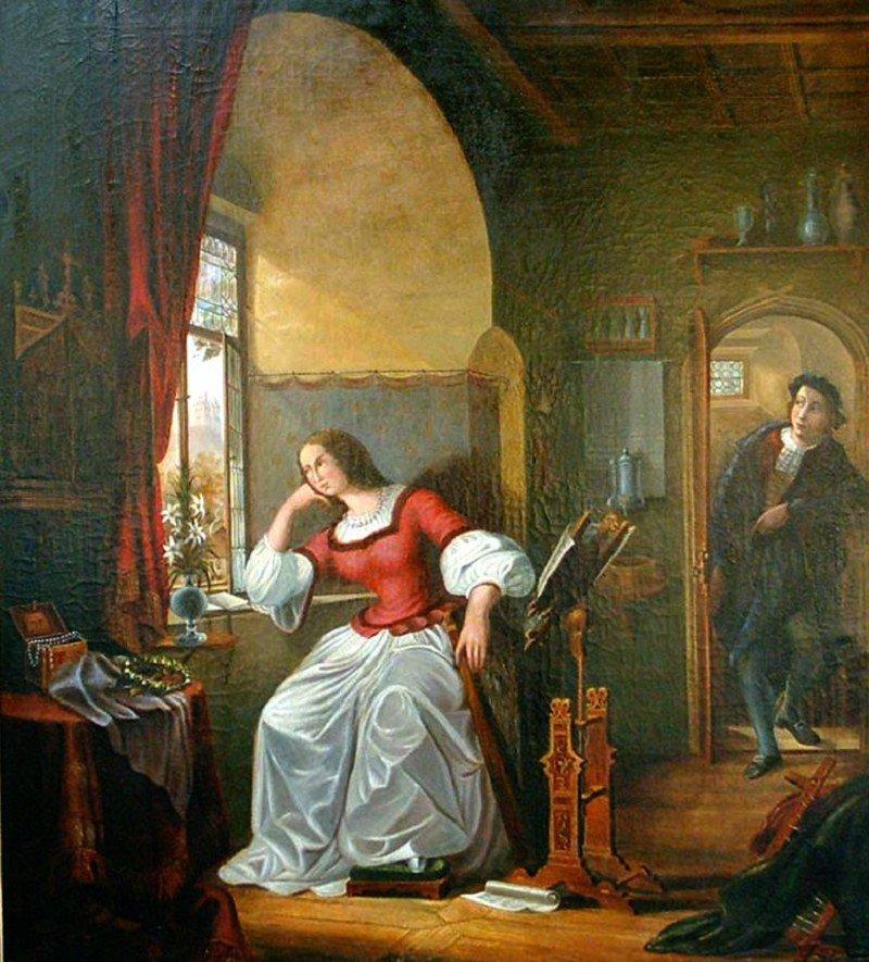 269: Liebespaar um 1880/90, Öl auf Leinwand, unsigniert