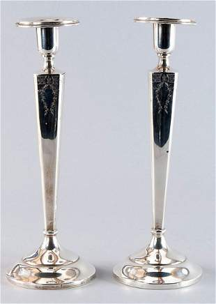 Pair of silver candlesticks, 925'-sterling silver, slen
