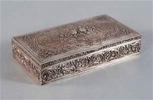 Rectangular box, rose motif, 800'-silver, hallmarked cr