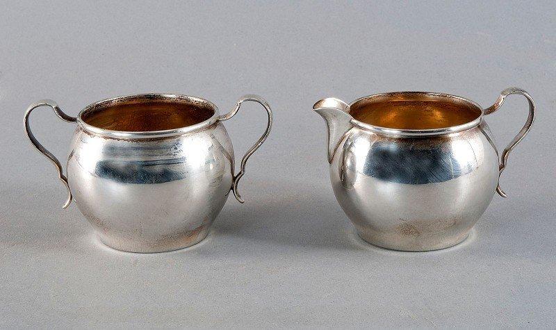 Cream jug and sugar jar, 925'-sterling silver, marked R