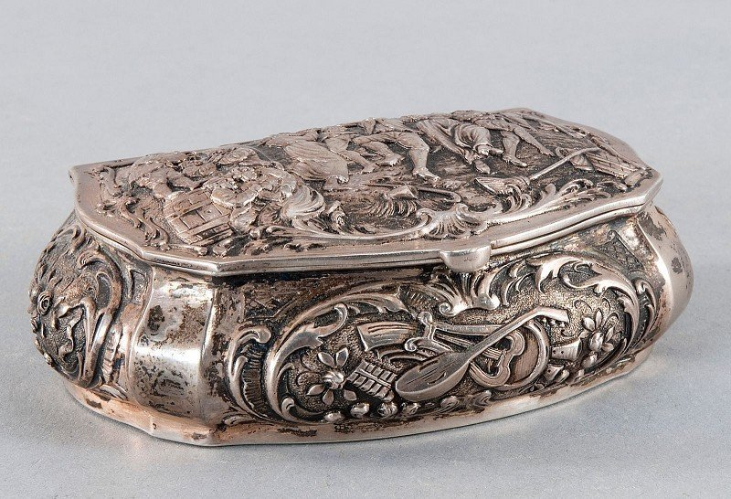 Cigarette case with dance motif, 800'-silver, hallmarke