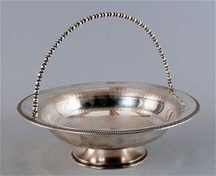 Silver bowl, galvanized silver, wide base, chased wave